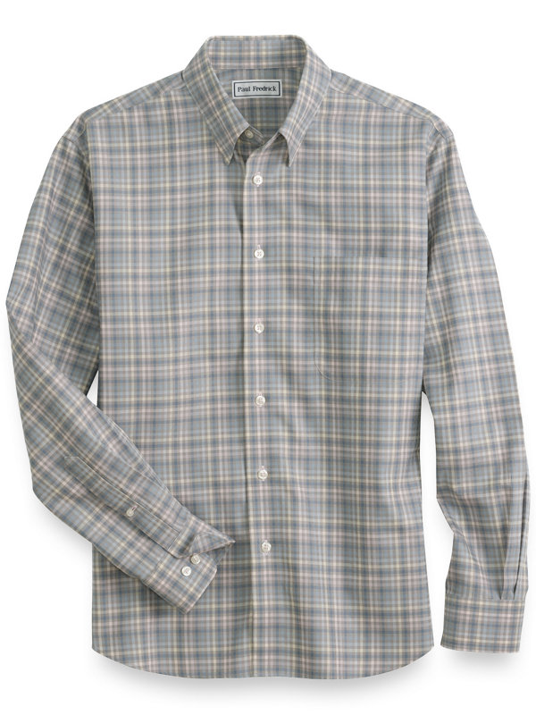 Non Iron Cotton Plaid Casual Shirt