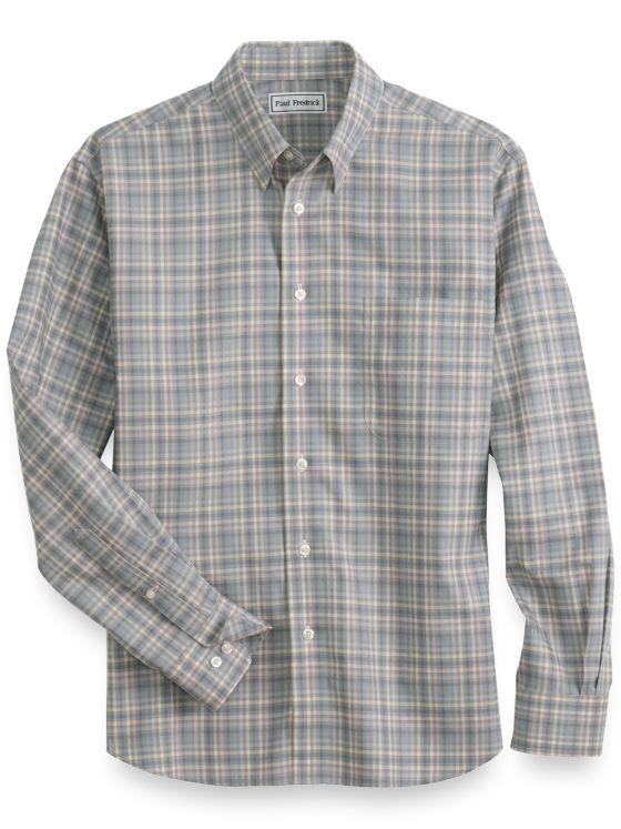Slim Fit Non Iron Cotton Plaid Casual Shirt