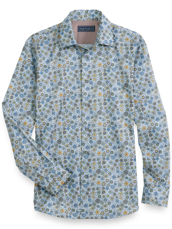 Cotton Circle Motif Long Sleeve Casual Shirt