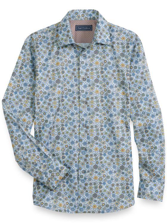 Slim Fit Cotton Circle Motif Long Sleeve Casual Shirt