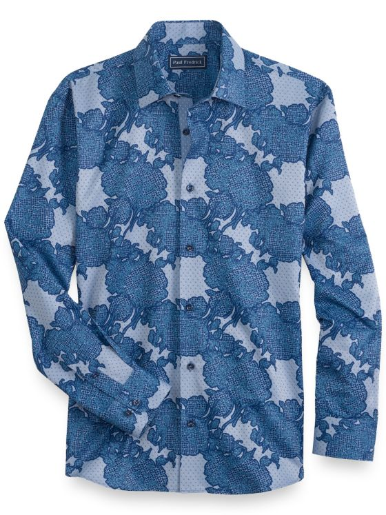 Slim Fit Cotton Abstract Motif Long Sleeve Casual Shirt