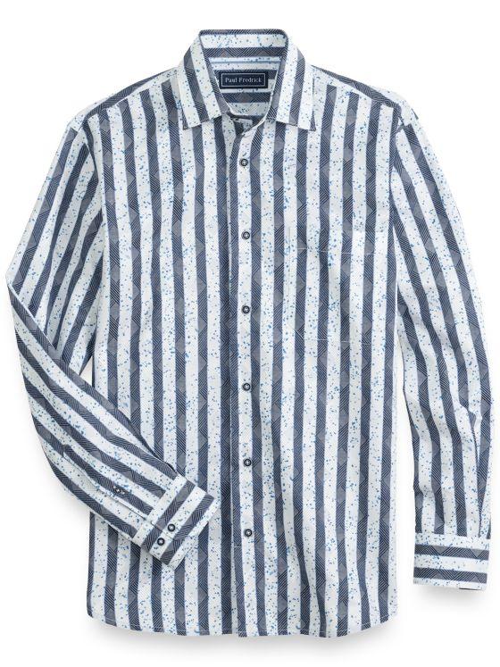 Cotton Herringbone Stripe Long Sleeve Casual Shirt