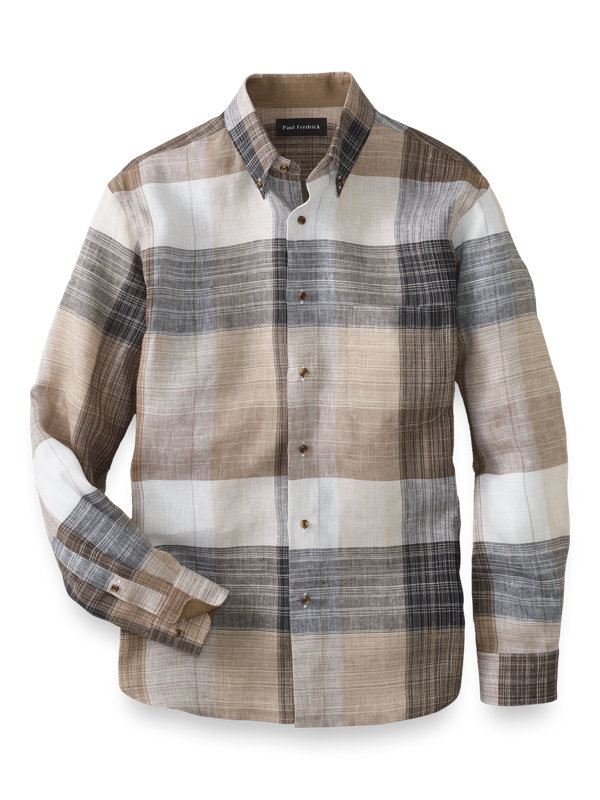 Slim Fit Linen Buffalo Plaid Casual Shirt
