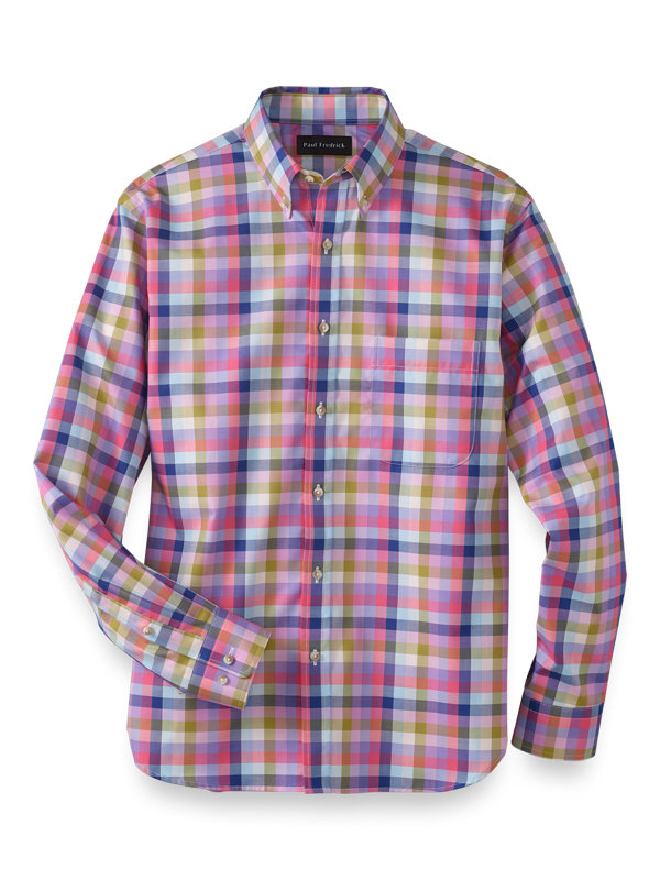 Slim Fit Cotton Gingham Casual Shirt