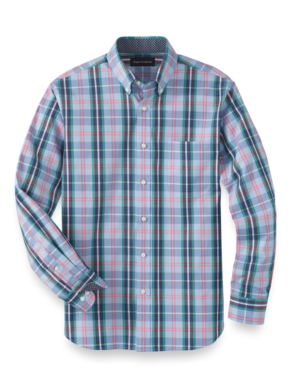 Slim Fit Cotton Stretch Plaid Casual Shirt
