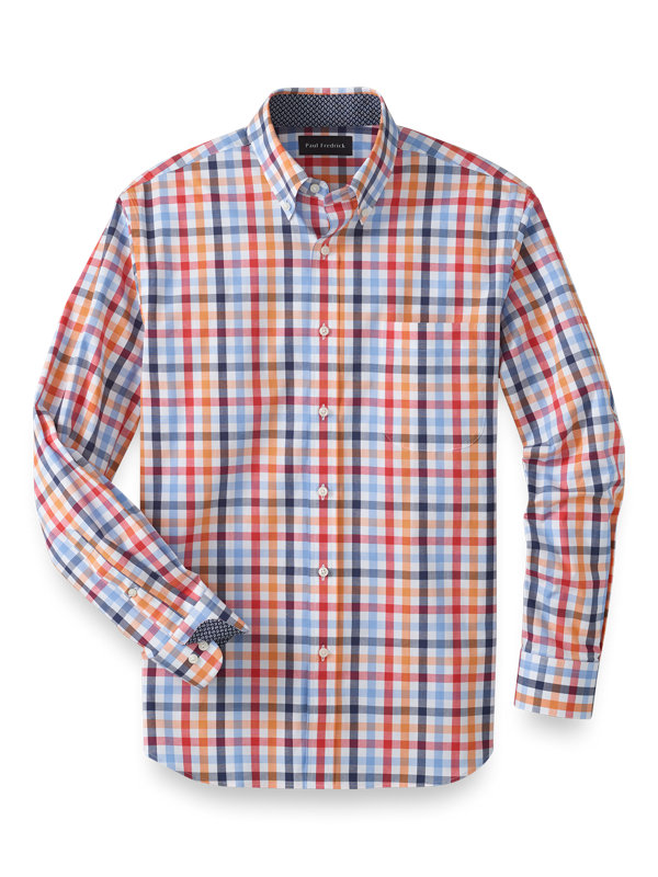 Slim Fit Cotton Stretch Gingham Casual Shirt