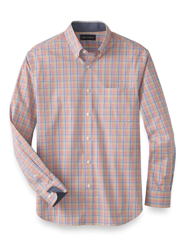 Slim Fit Cotton Stretch Check Casual Shirt