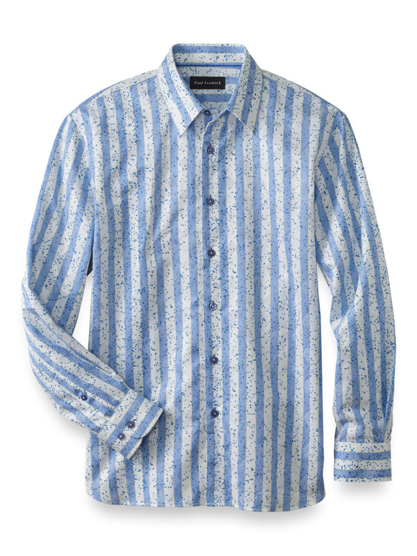 Slim Fit Cotton Blend Wide Stripe Casual Shirt