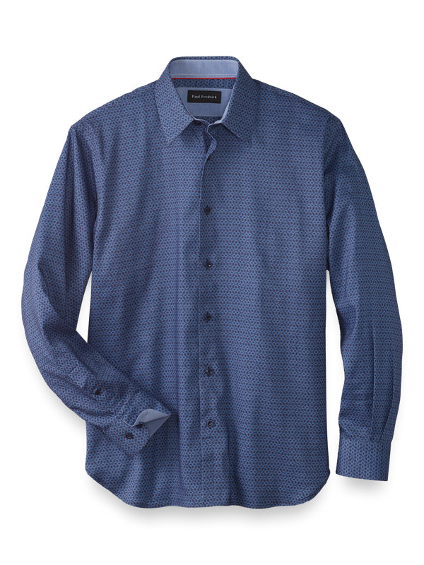 Slim Fit Cotton Blend Medallion Casual Shirt