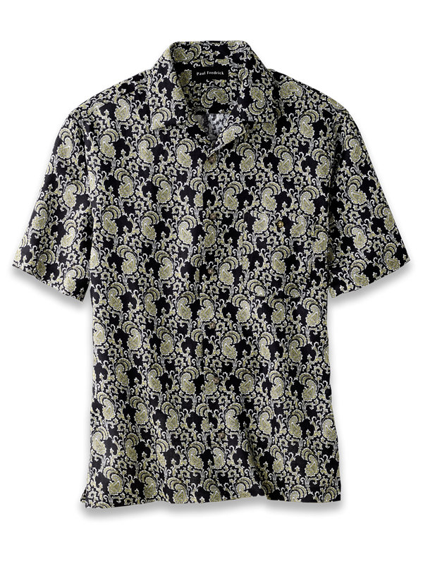 Linen Paisley Print Casual Shirt