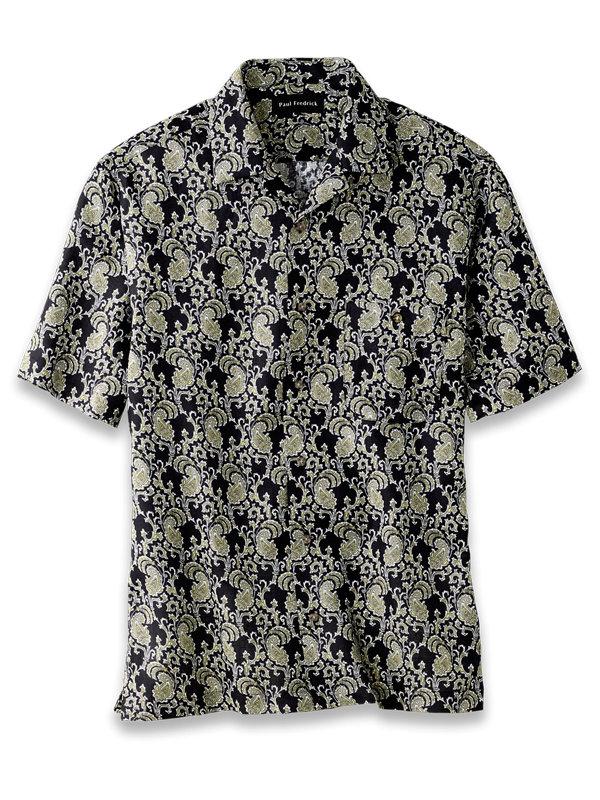 Slim Fit Linen Paisley Print Casual Shirt