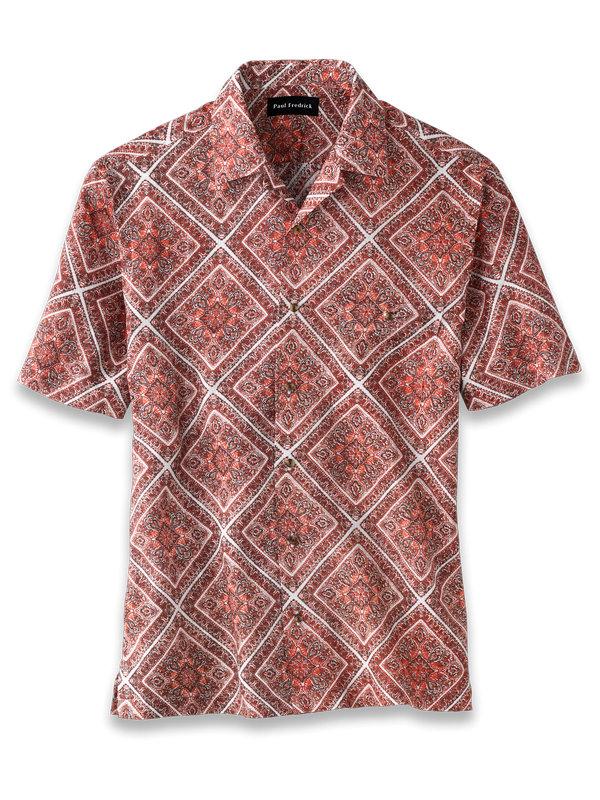 Slim Fit Linen Medallion Print Casual Shirt