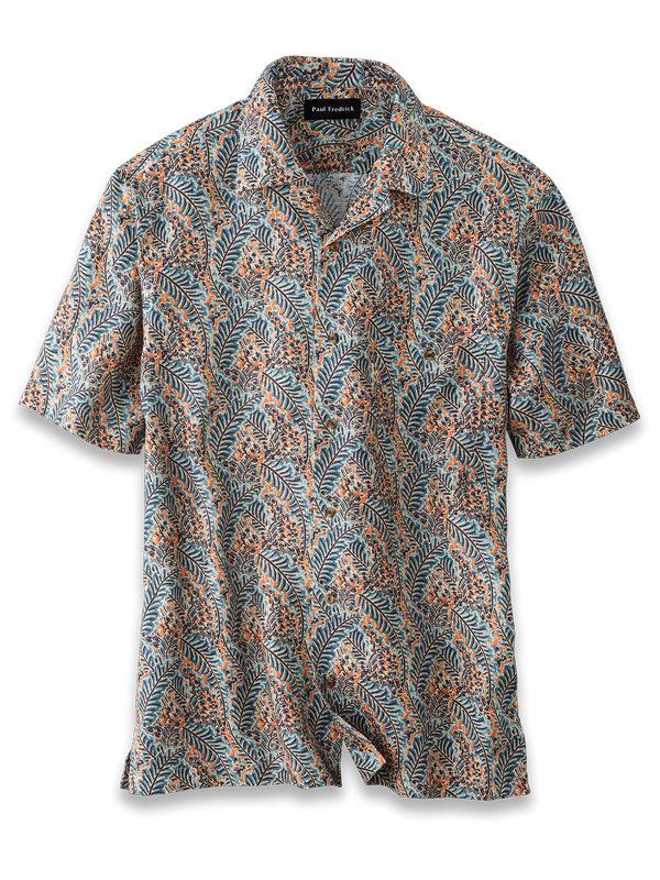 Slim Fit Linen Batik Print Casual Shirt