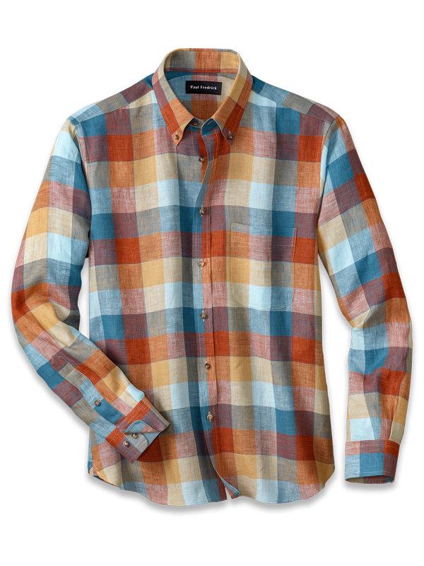 Slim Fit Linen Buffalo Plaid Casual Shirt