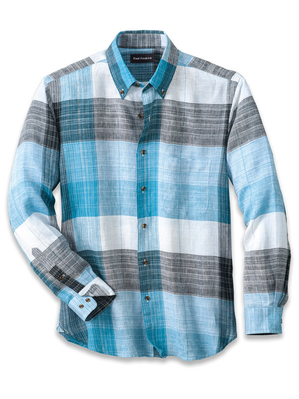 Linen Buffalo Plaid Casual Shirt