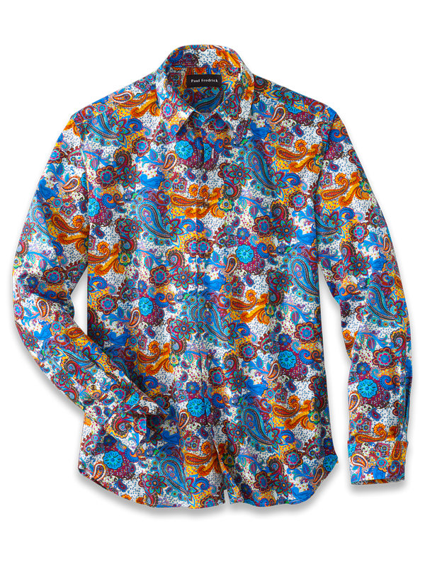 Slim Fit Cotton Paisley Print Casual Shirt