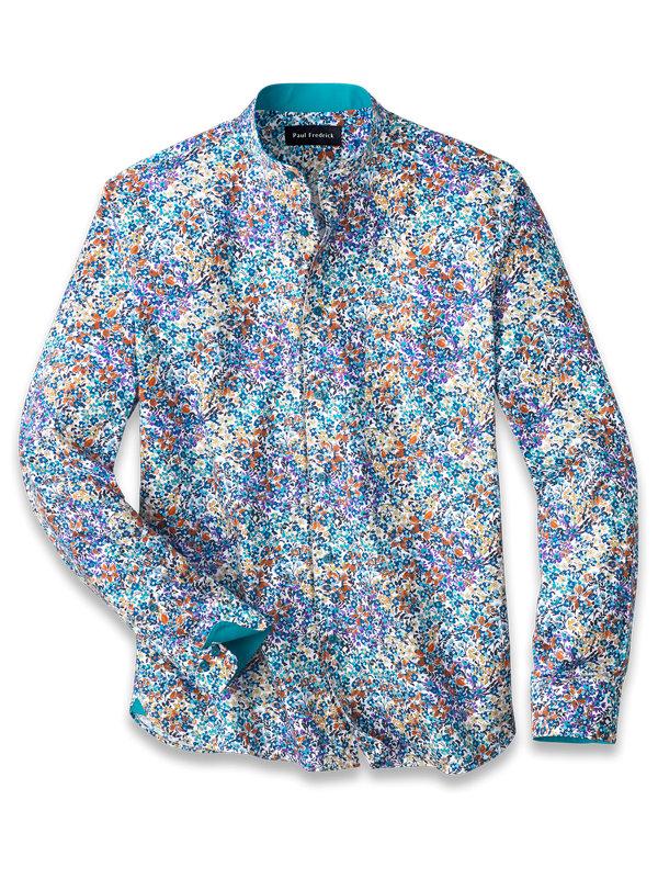 Slim Fit Cotton Floral Print Casual Shirt