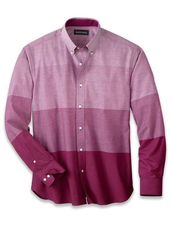 Slim Fit Cotton Horizontal Stripe Casual Shirt