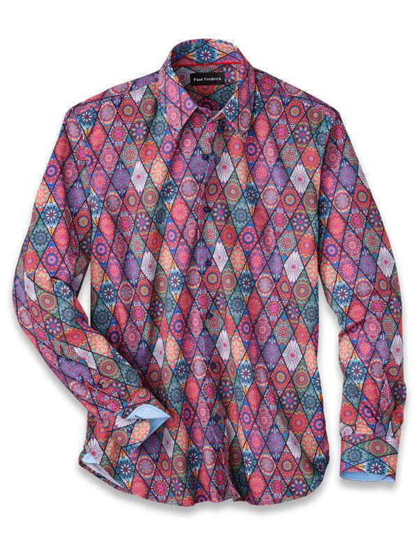 Slim Fit Cotton Blend Medallion Print Casual Shirt