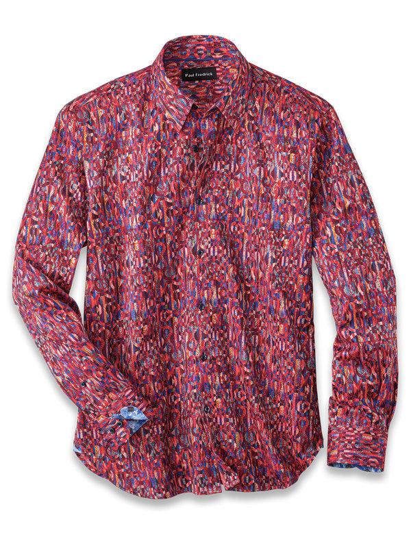 Cotton Blend Stripe Print Casual Shirt