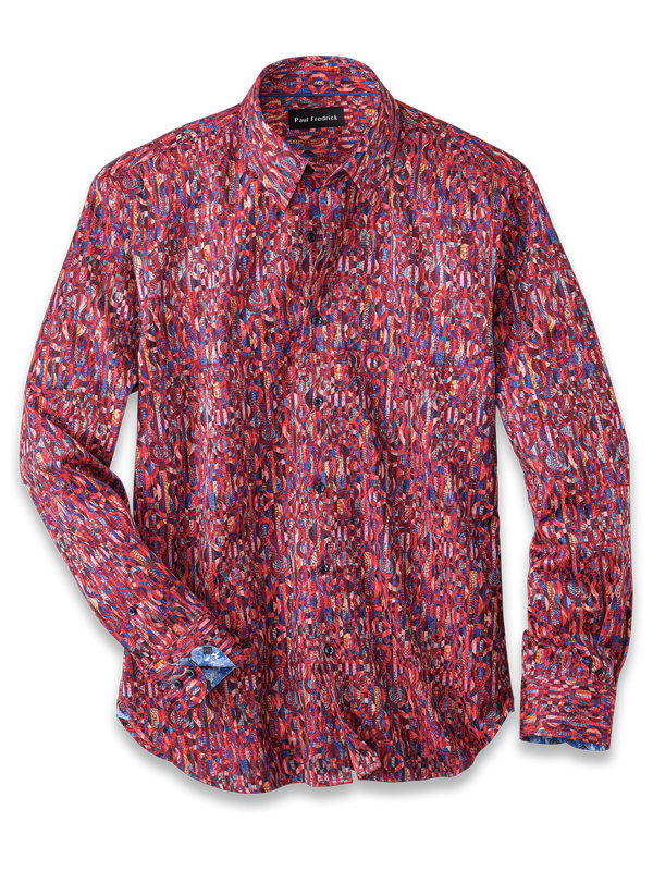 Slim Fit Cotton Blend Stripe Print Casual Shirt