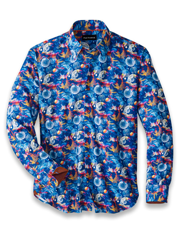 Cotton Blend Circle Print Casual Shirt