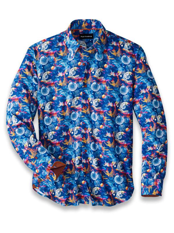 Slim Fit Cotton Blend Circle Print Casual Shirt