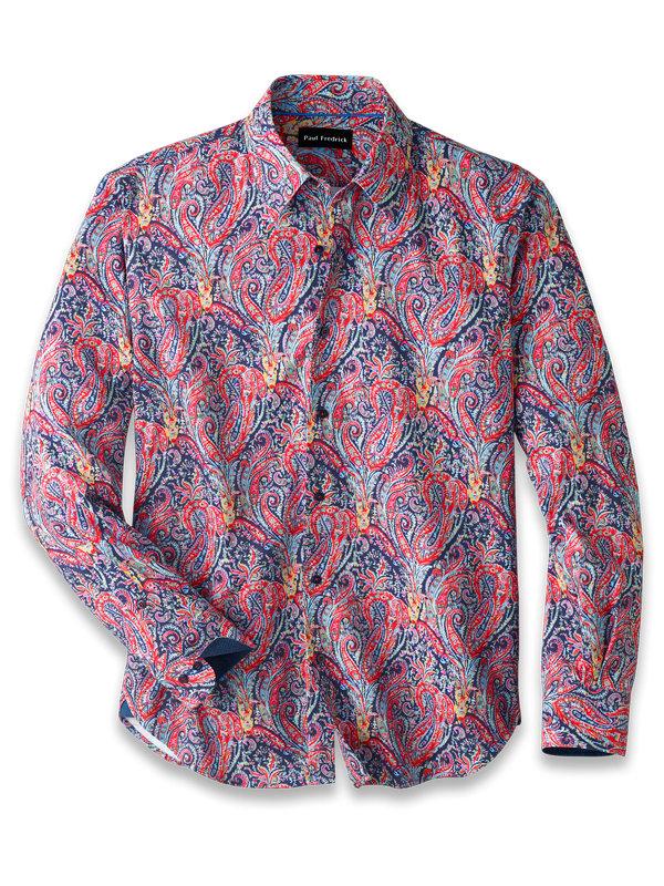 Slim Fit Cotton Blend Paisley Print Casual Shirt