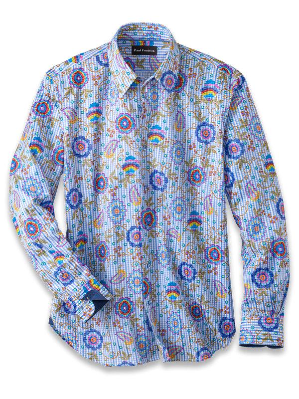 Cotton Blend Floral Print Casual Shirt