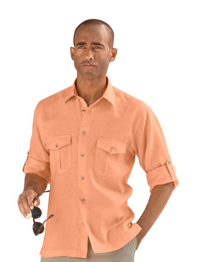 Slim Fit Linen Straight Collar Casual Shirt