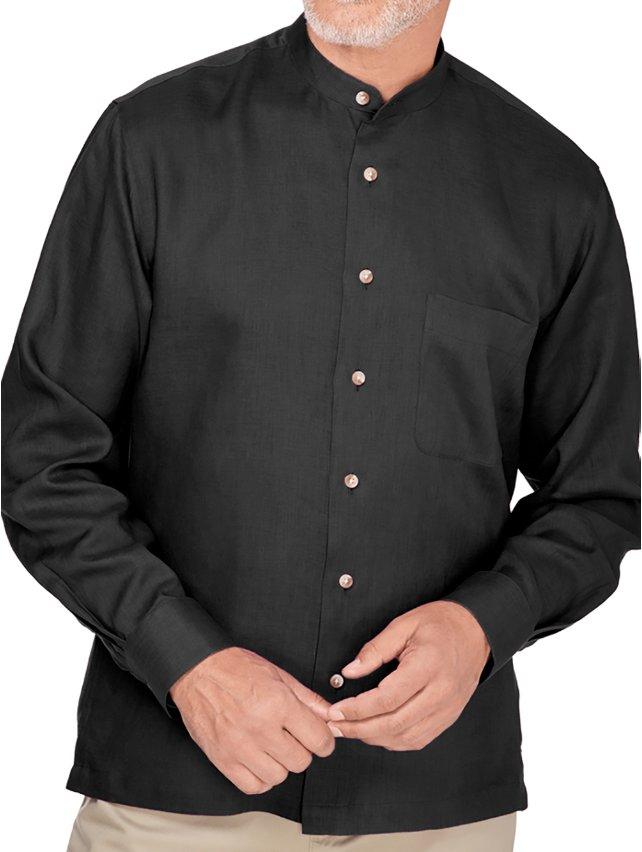 Slim Fit Linen Band Collar Casual Shirt