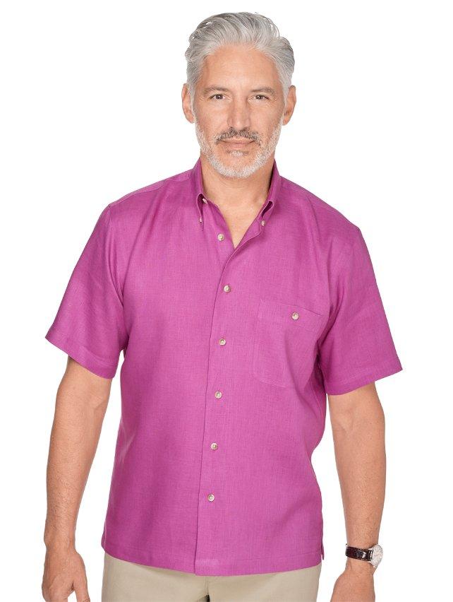 Slim Fit Linen Button Down Collar Casual Shirt