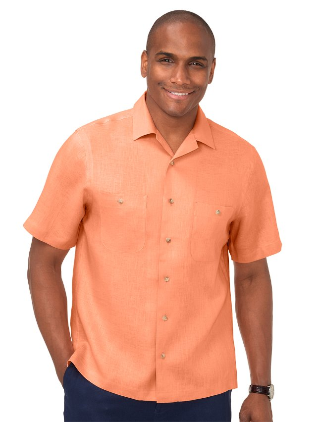Slim Fit Linen Camp Collar Casual Shirt