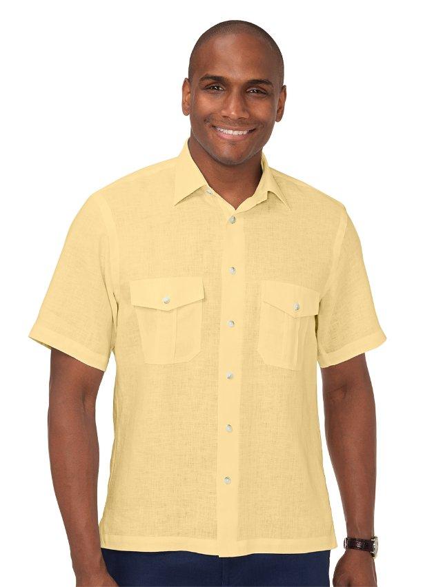 Linen Straight Collar Casual Shirt