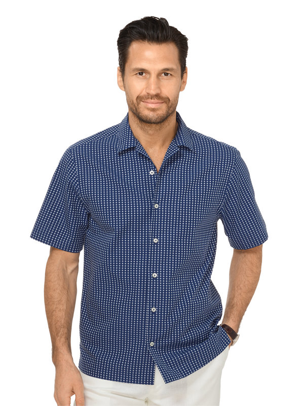 Slim Fit Cotton Seersucker Diamond Motif Casual Shirt