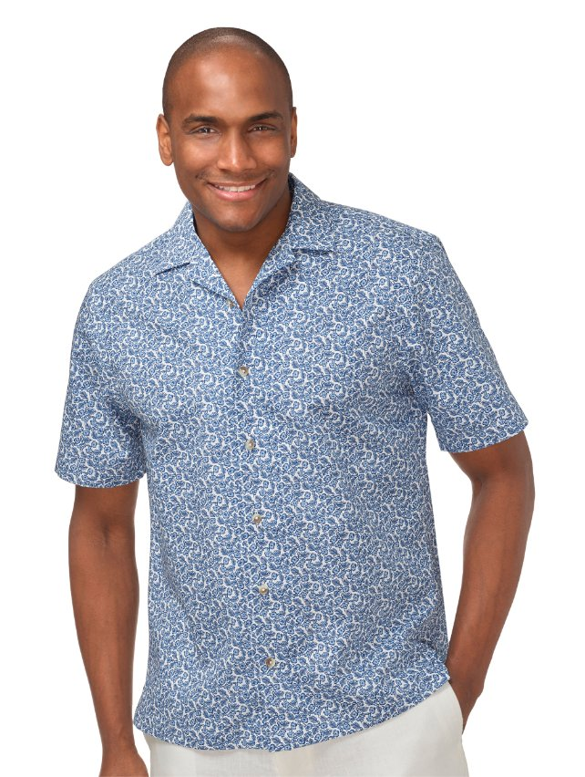 Slim Fit Cotton Tropical Print Casual Shirt