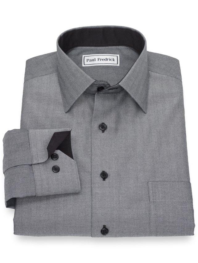 Non-Iron Cotton Herringbone Casual Shirt