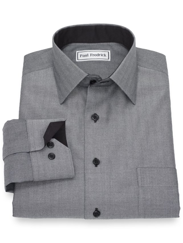 Slim Fit Non-Iron Cotton Herringbone Casual Shirt