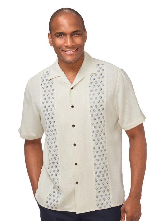 Silk Printed Panel Camp Shirt