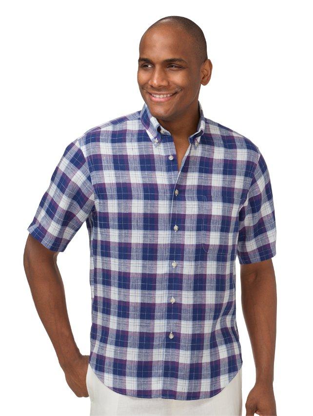 Slim Fit Non-Iron Impeccable Linen Plaid Casual Shirt