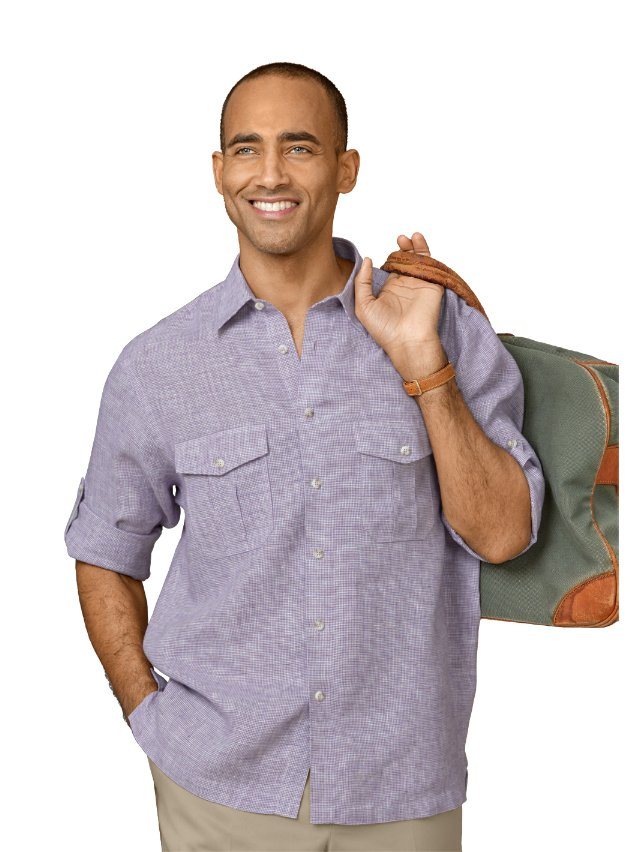 Non-Iron Impeccable Linen Houndstooth Casual Shirt