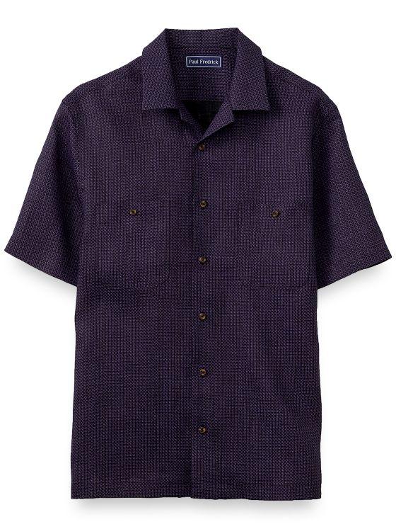 Slim Fit Linen Circle Print Short Sleeve Casual Shirt