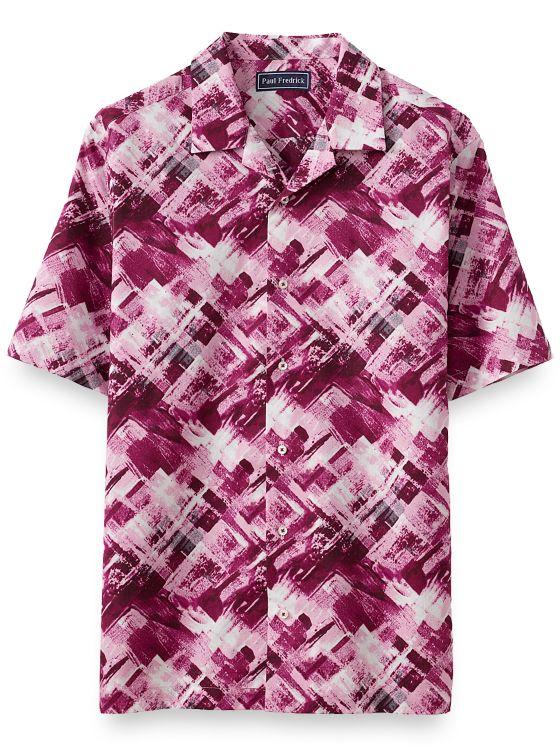 Cotton Dark Abstract Batik Print Casual Shirt