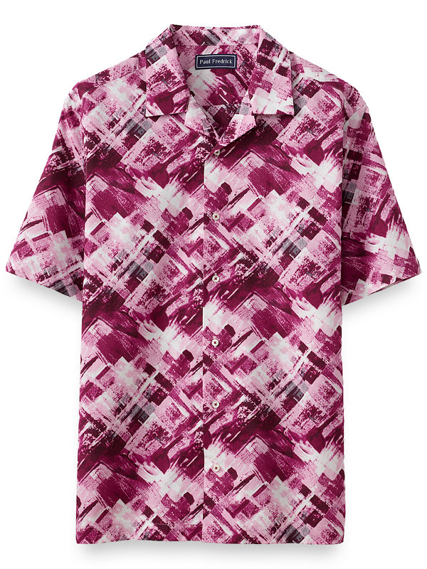 Slim Fit Cotton Abstract Batik Print Casual Shirt