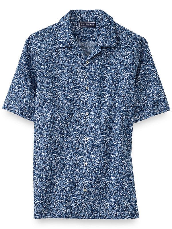 Cotton Leaf Batik Print Casual Shirt