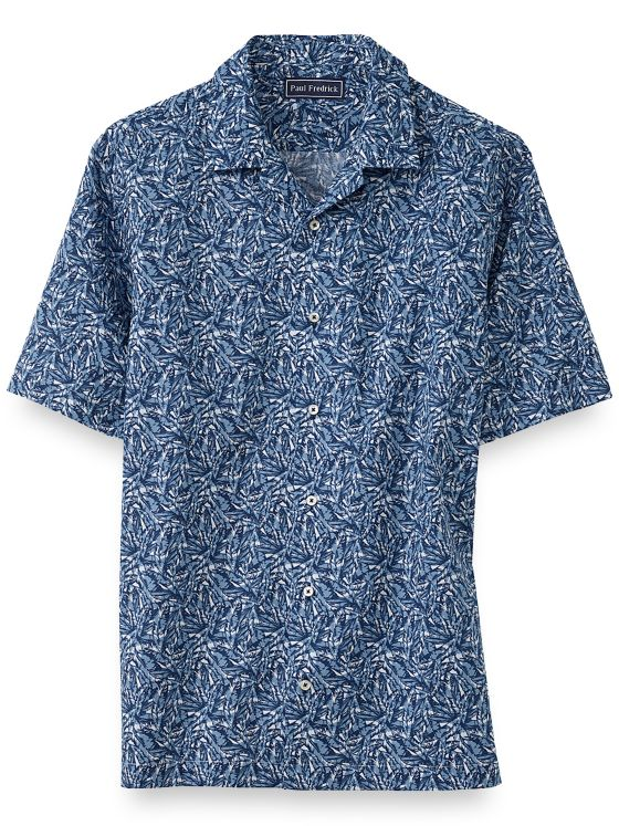 Slim Fit Cotton Leaf Batik Print Casual Shirt
