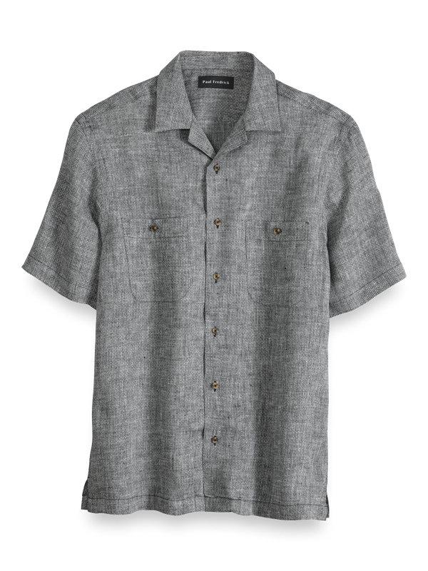 Linen Diamond Pattern Casual Shirt