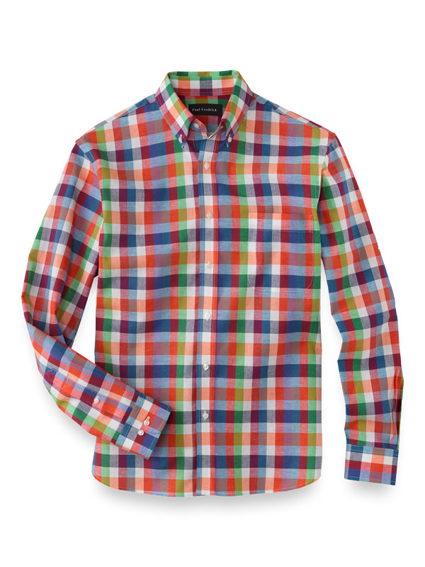 Slim Fit Cotton Linen Gingham Casual Shirt