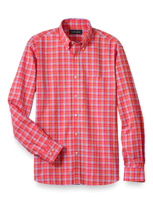 Cotton Linen Plaid Casual Shirt