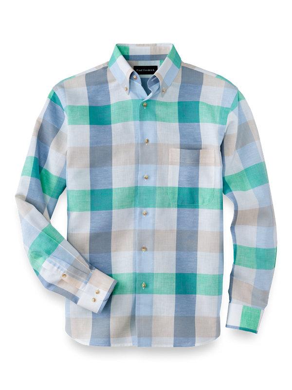 Slim Fit Cotton Linen Buffalo Plaid Casual Shirt